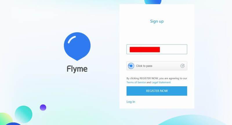 Создать учетную запись Flyme